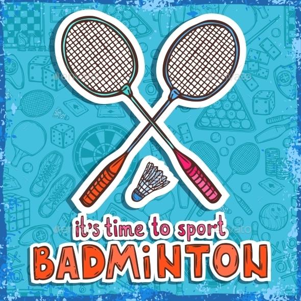 Badminton Sketch Background - Sports/Activity Conceptual