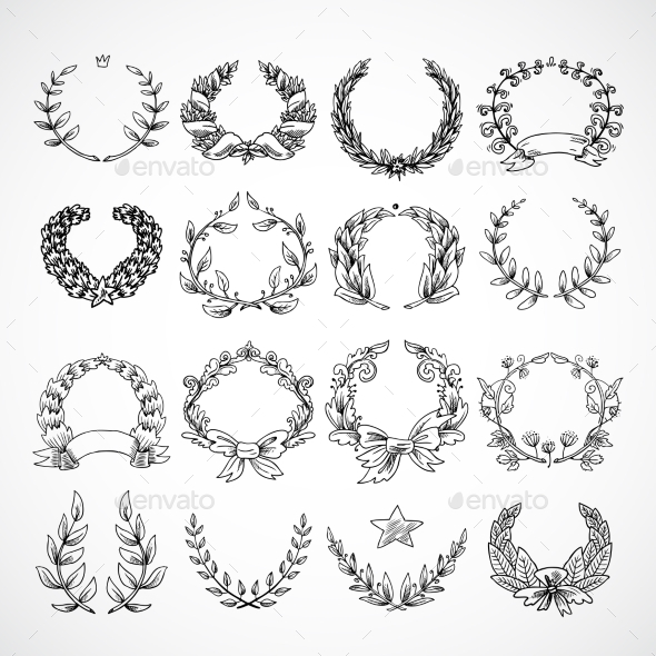 Wreath Heraldic Icons Set - Objects Vectors