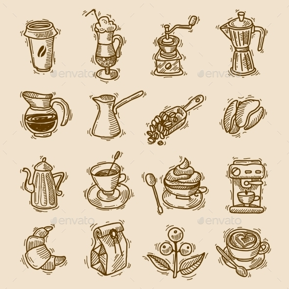Coffee Sketch Icons Set - Food Objects