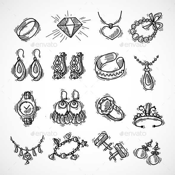 Jewelry Icons Set - Objects Vectors