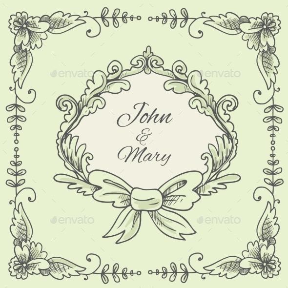 Wedding Wreath Sketch - Flourishes / Swirls Decorative