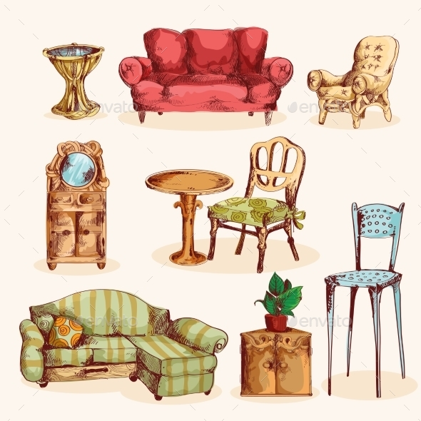 Furniture Sketch Colored - Decorative Vectors