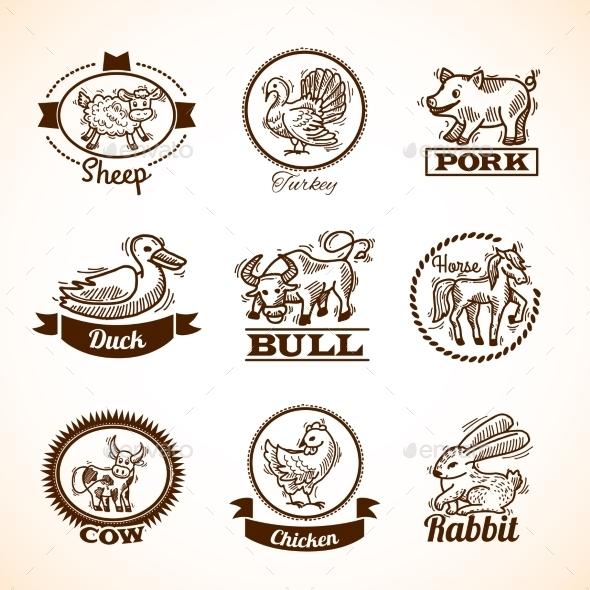 Farm Labels Set - Animals Characters