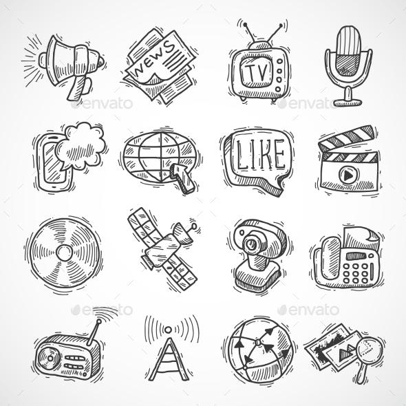 Media Icons Set - Communications Technology
