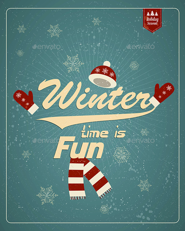 Vintage Winter Background - Seasons Nature