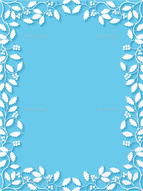 Floral Frame with Holly - Borders Decorative