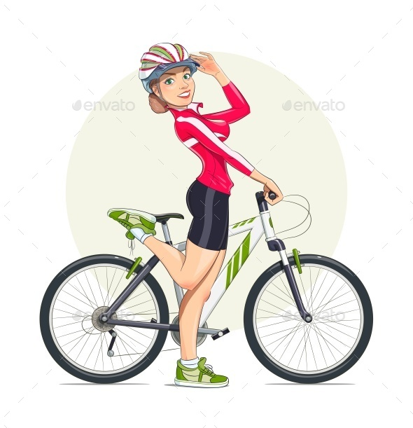 Beautiful Girl in Helmet with Mountain Bike. - Sports/Activity Conceptual