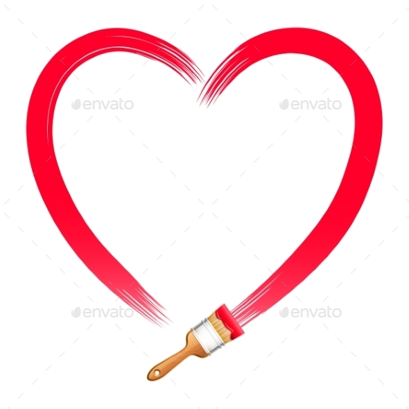 Brush Drawing Red Heart - Valentines Seasons/Holidays