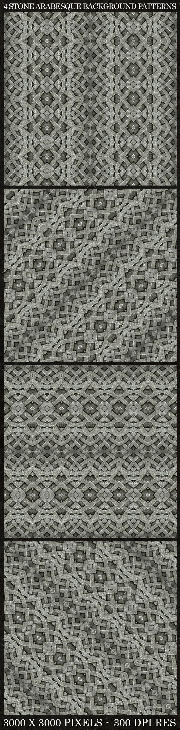 4 Stone Arabesque Patterns in Gray Tones - Patterns Decorative