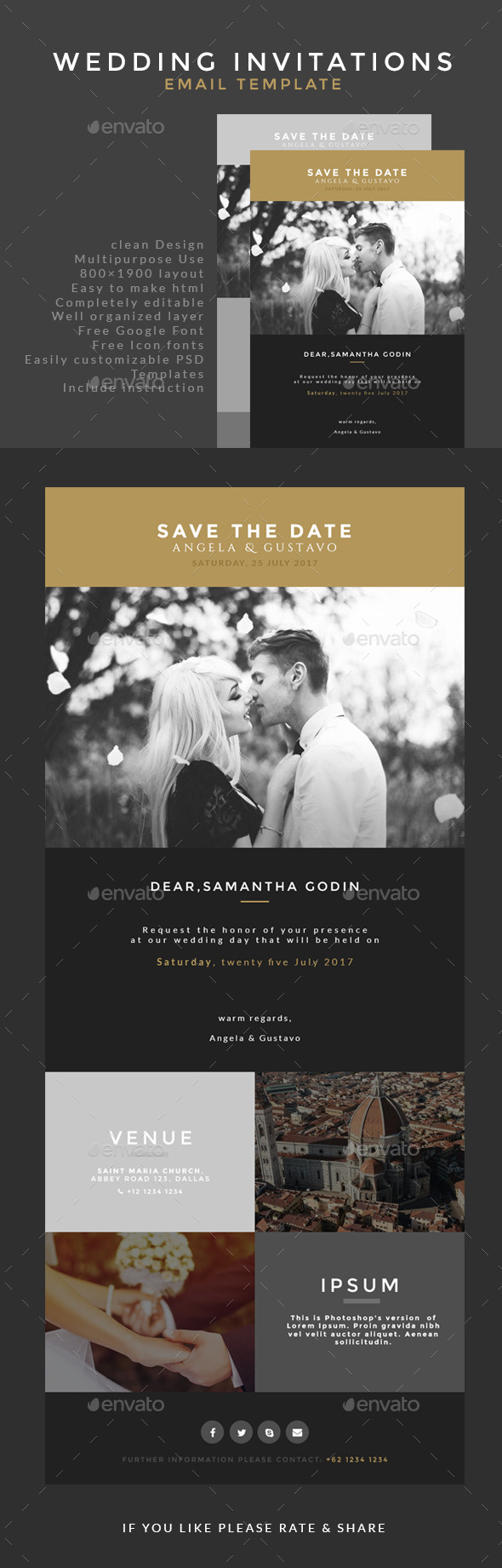 Wedding Invitation Email Template  - E-newsletters Web Elements