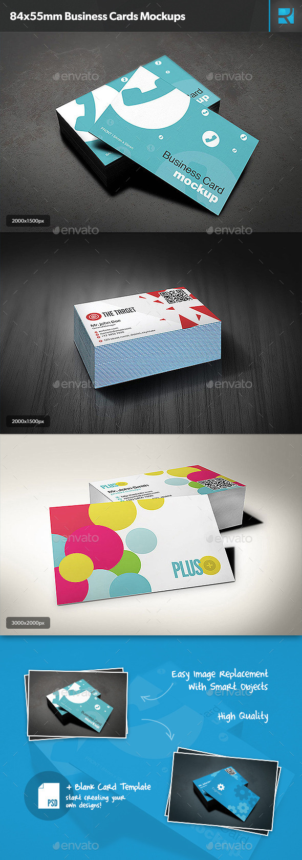 84x55mm Business Cards Mockups - Business Cards Print