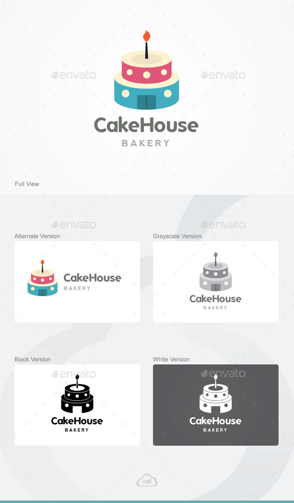 Cake House Bakery Logo Template - Food Logo Templates