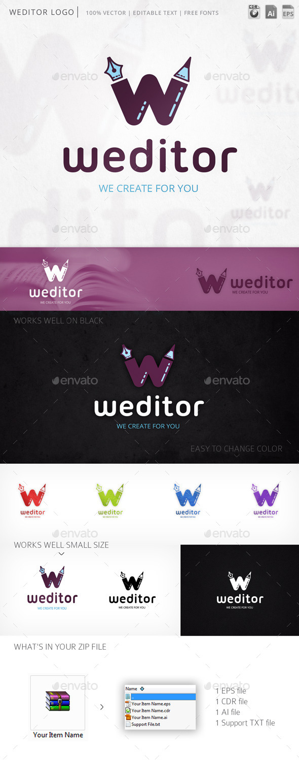 Weditor Letter W Logo Template - Letters Logo Templates