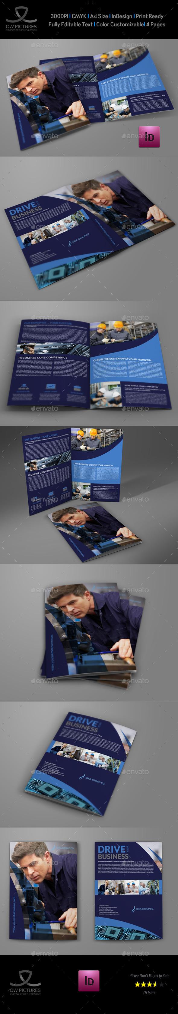 Industrial Company Brochure Bi-Fold Template - Informational Brochures