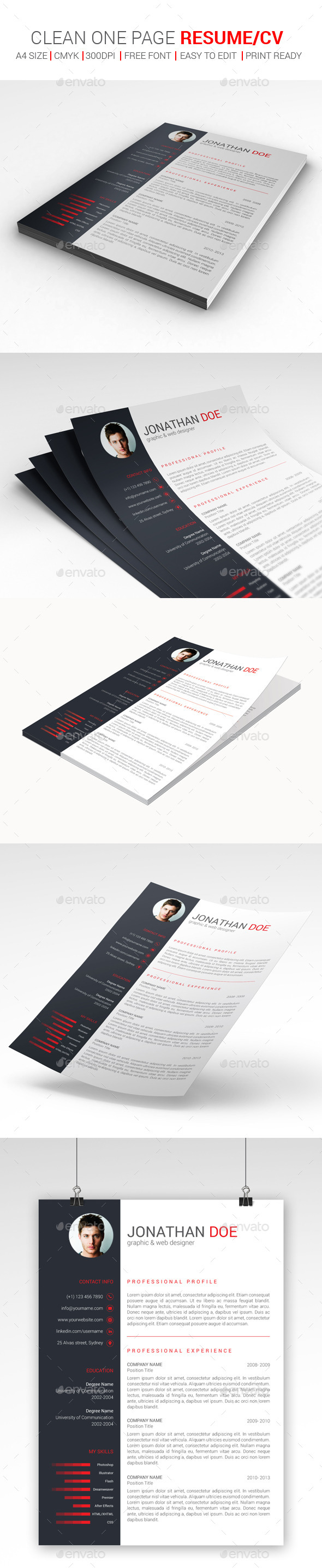 Clean One Page Resume/CV - Resumes Stationery