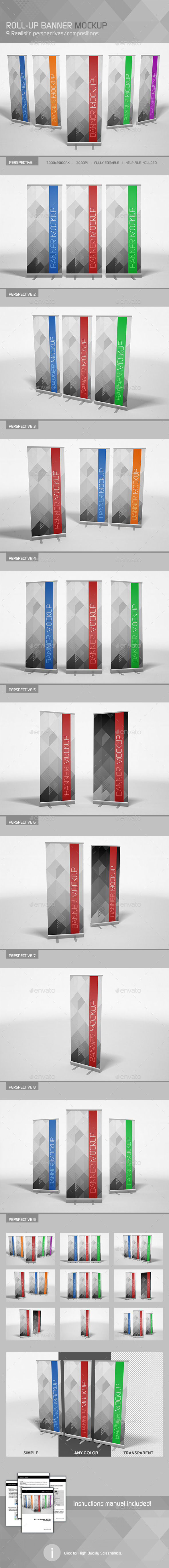 Realistic Roll-up Banner Mockup - Signage Print
