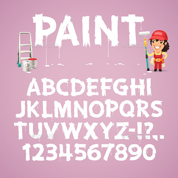 Set of Letters and Numbers Painted on a Wall - Decorative Symbols Decorative
