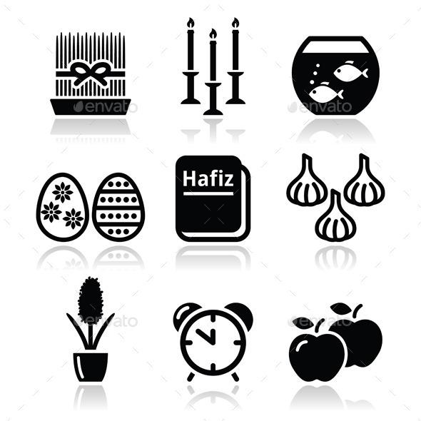 Nowruz - Persian New Year Icons Set - New Year Seasons/Holidays