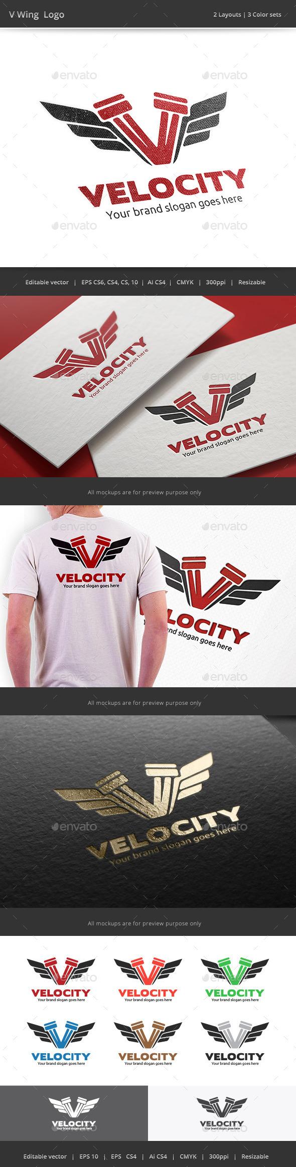 V Wing Logo - Vector Abstract