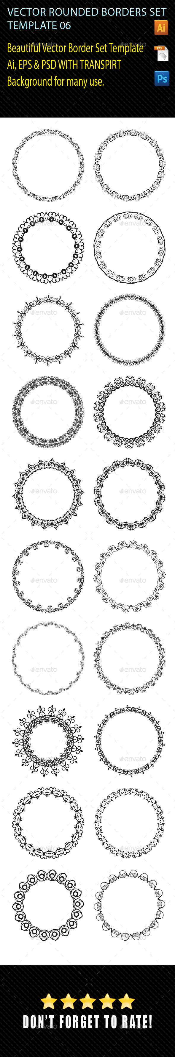 Vector Rounded Borders Template 06 - Borders Decorative
