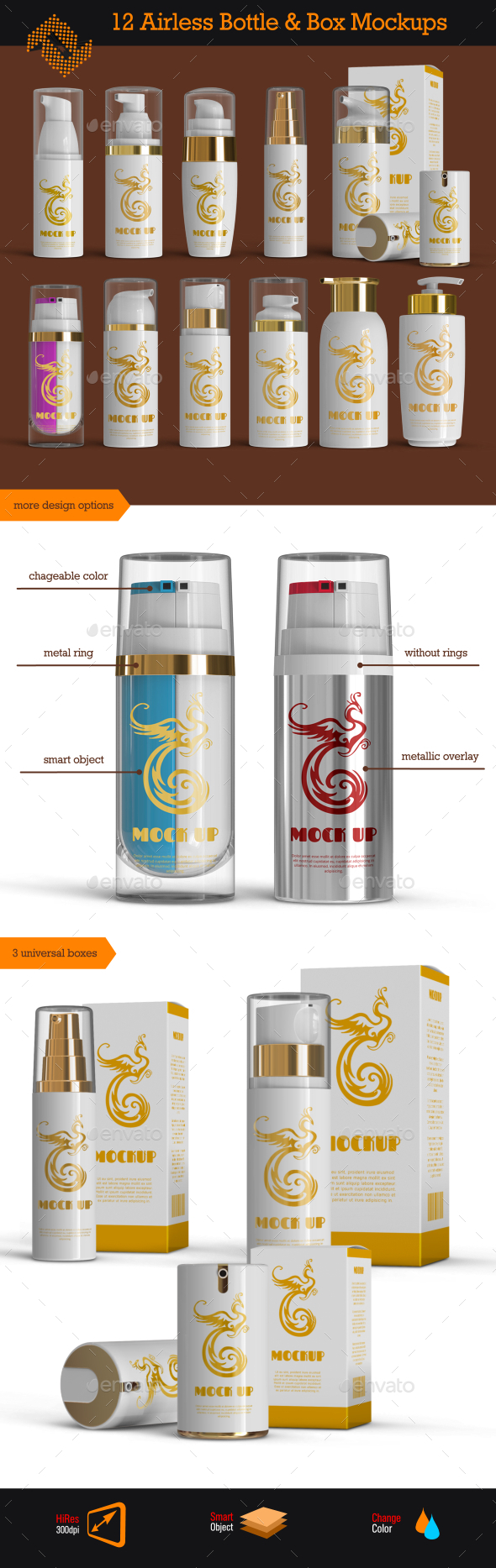 12 Airless Cosmetic Bottle & Box Mockups - Beauty Packaging