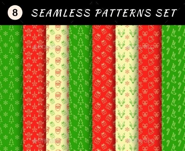 Christmas Seamless Patterns Set - Christmas Seasons/Holidays