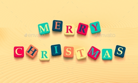 Merry Christmas in Block Letters - Christmas Seasons/Holidays