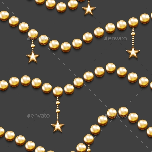 Golden Beads and Stars - Christmas Seasons/Holidays