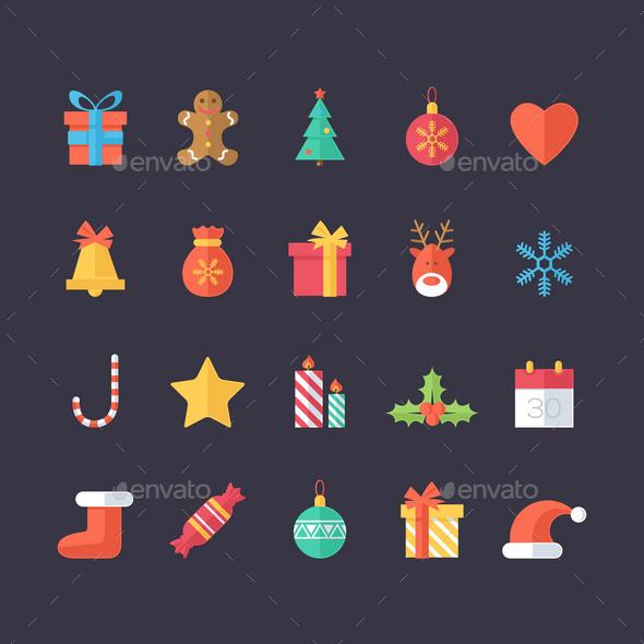 Set of Christmas Icons - Seasons/Holidays Conceptual