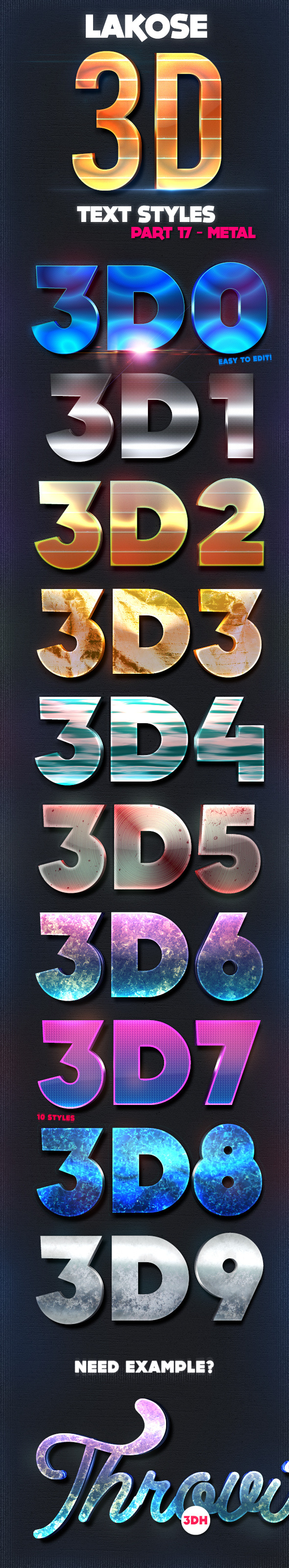 Lakose 3D Text Styles Part 17 - Text Effects Styles