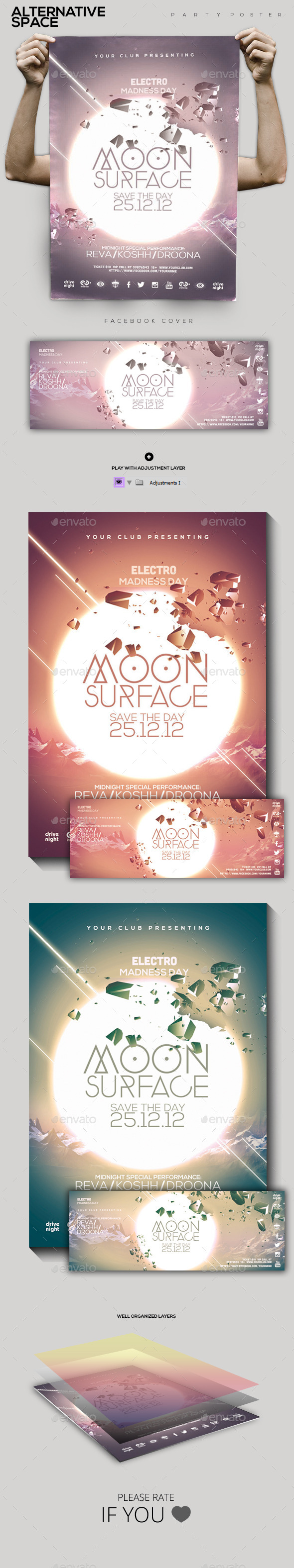 Moon Surface Party Flyer/Poster - Clubs & Parties Events