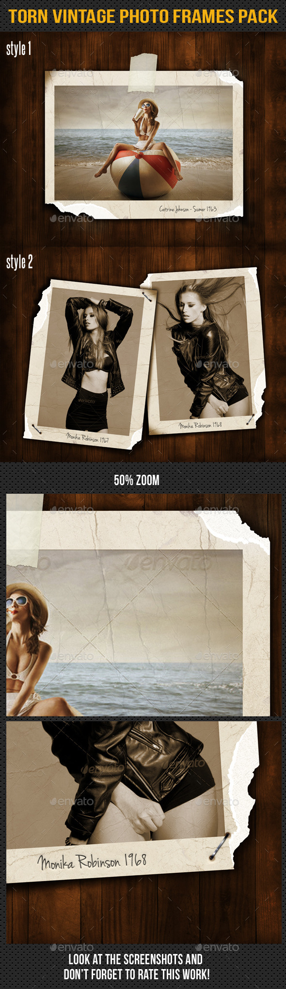Torn Vintage Photo Frames Pack - Miscellaneous Photo Templates