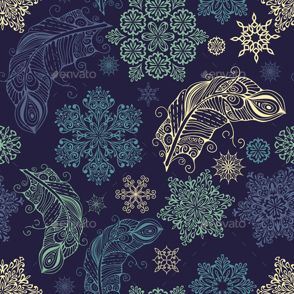 Seamless Pattern with Snowflakes and Feathers - Patterns Decorative