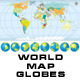 Detailed World Map with Globes - GraphicRiver Item for Sale
