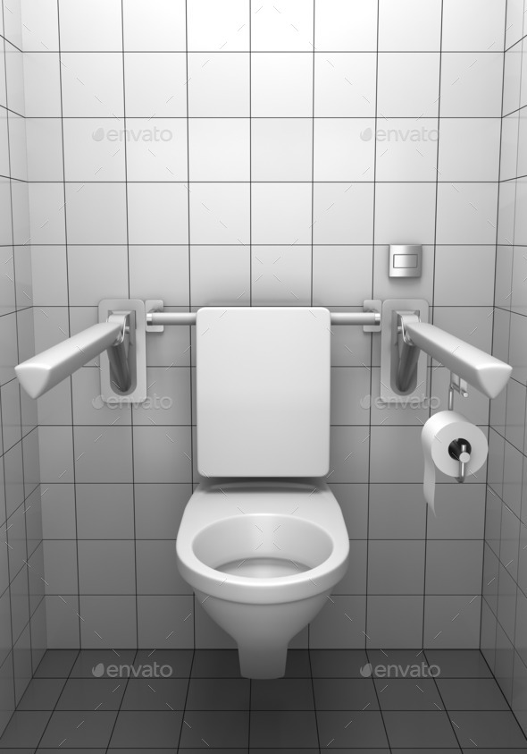 toilet for invalids with white tile on wall - Stock Photo - Images