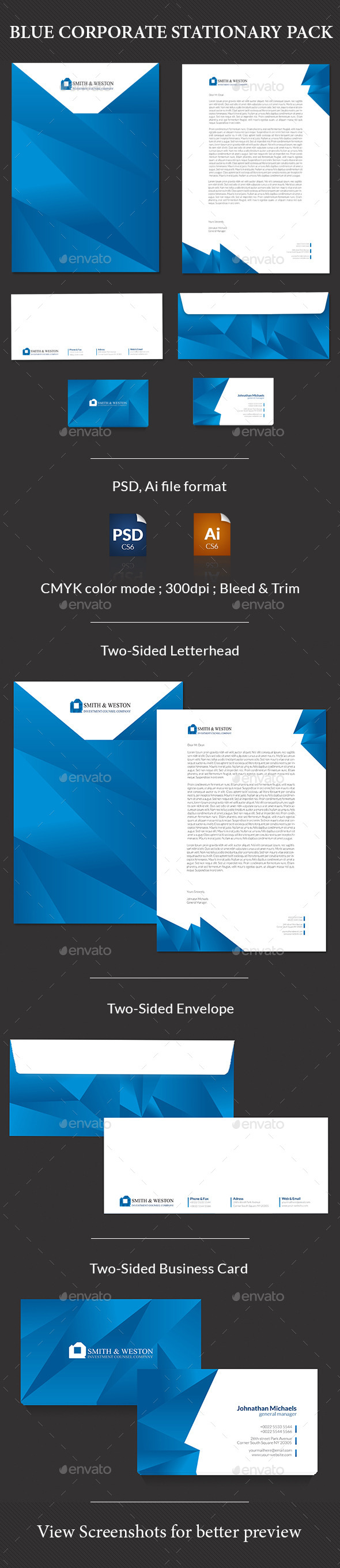 Blue Corporate Stationary Pack - Stationery Print Templates