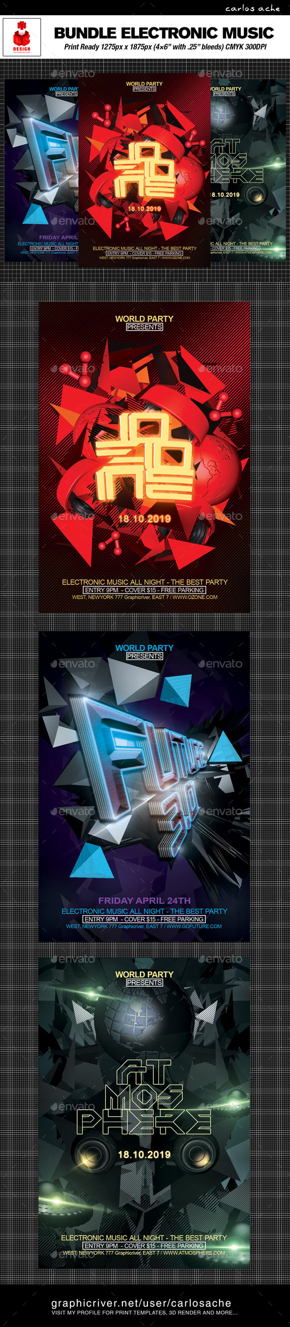 Electronic Music Flyer Bundle - Clubs & Parties Events