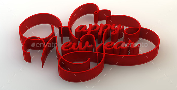 Happy New Year 3D Text - Text 3D Renders