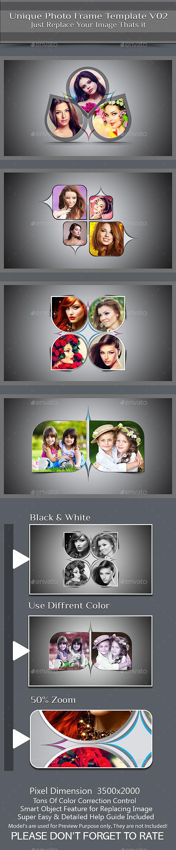 Unique Photo Frame Template V02 - Photo Templates Graphics