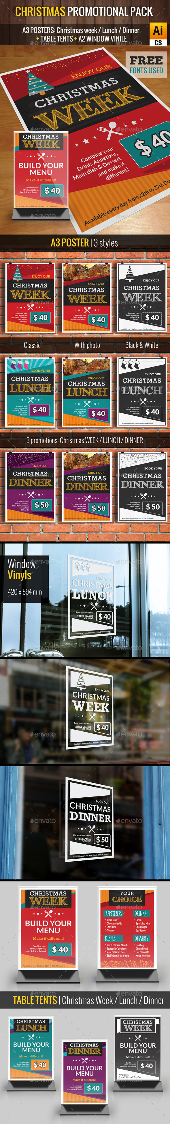 Christmas Promotional Pack || Restaurant  - Signage Print Templates