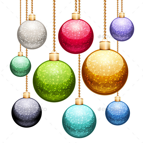 Set of Christmas Balls with Glitter - Christmas Seasons/Holidays
