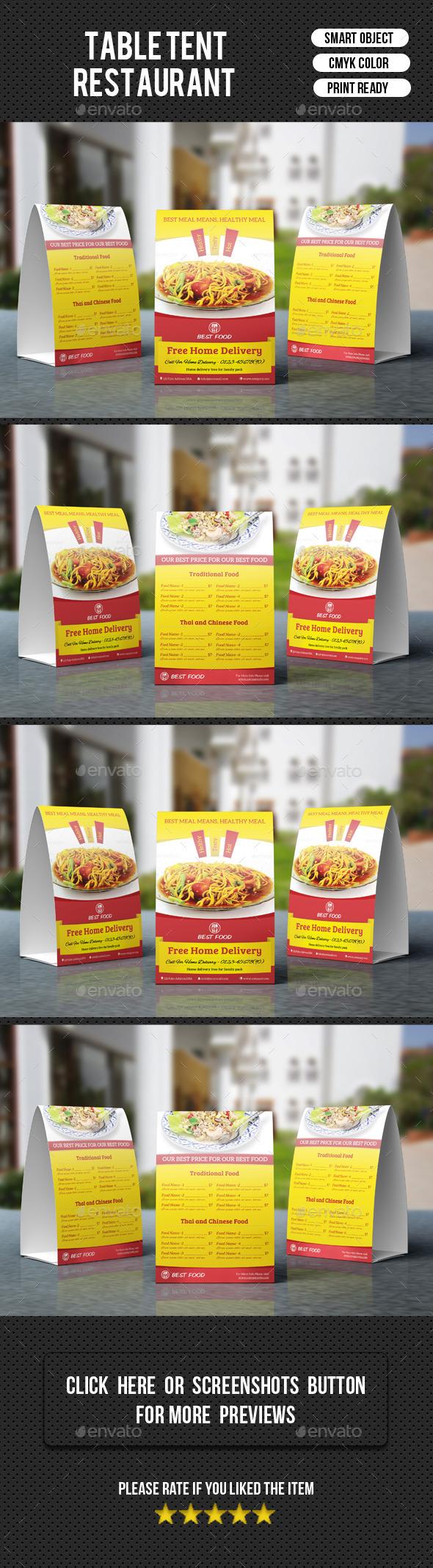 Restaurant Table Tent-V05 - Food Menus Print Templates