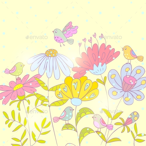 Flowers and Birds Background - Flowers & Plants Nature