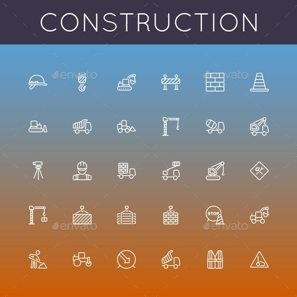 Vector Construction Line Icons - Business Icons