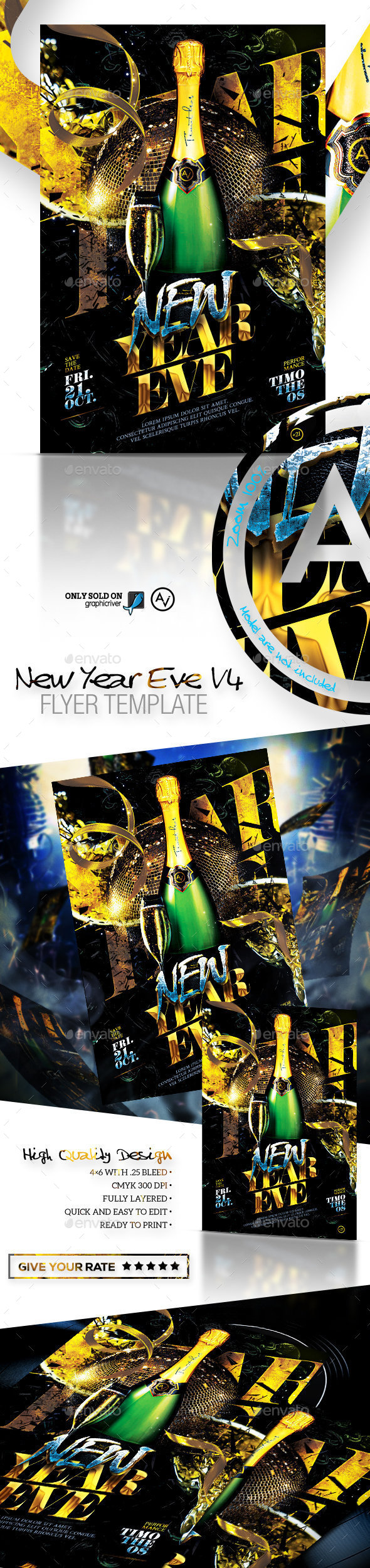 New Year Eve Flyer Template v4 - Clubs & Parties Events