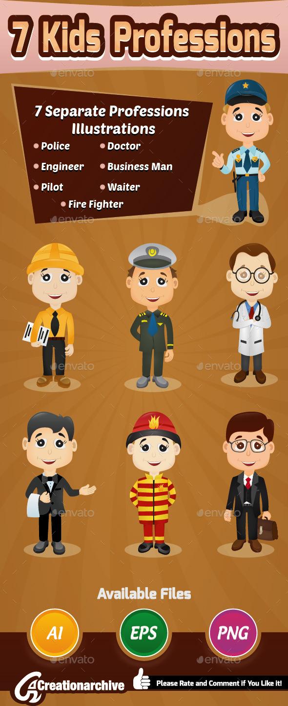 7 Kids Professions - Characters Vectors