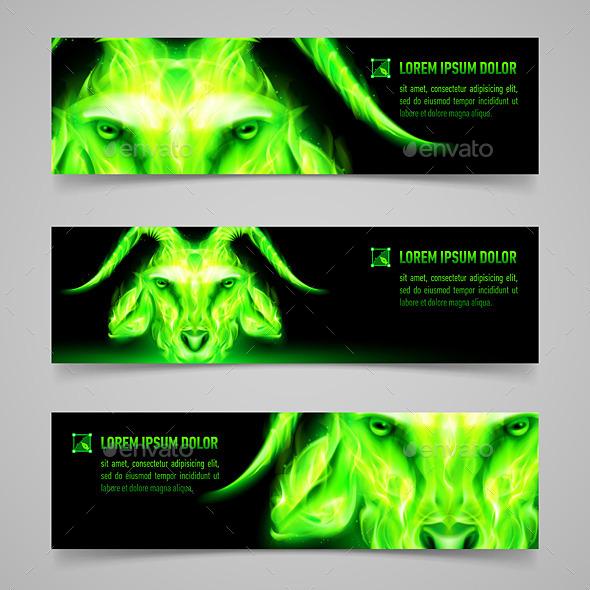 Goat Fire Banners - Miscellaneous Vectors
