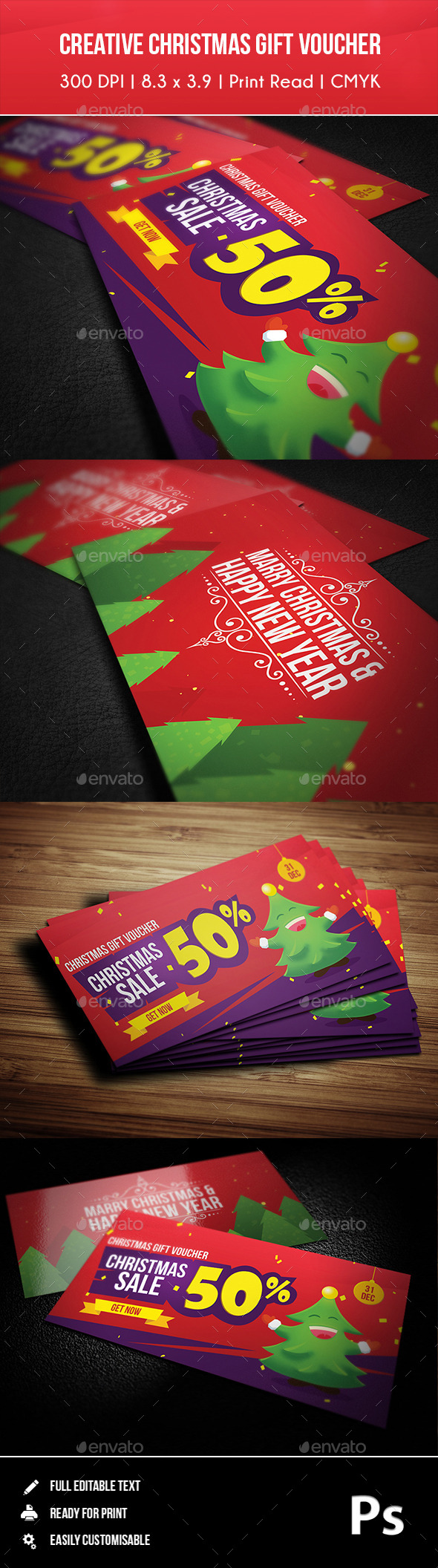 Creative Christmas Gift Voucher 01 - Cards & Invites Print Templates