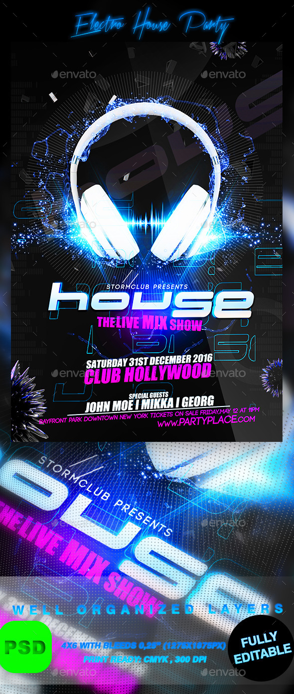 Electro House Party - Events Flyers