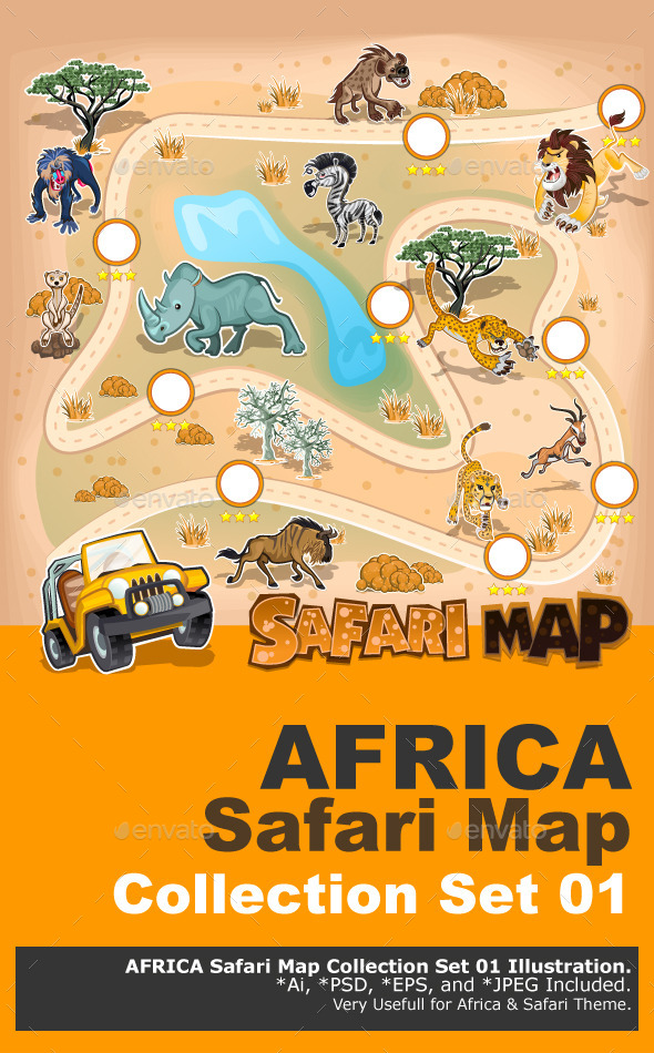 Africa Safari Map Wildlife - Animals Characters